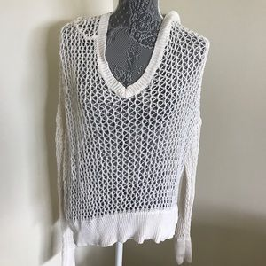 White Hand Knit Hooded Sweater